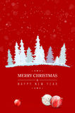 Red Christmas card with abstract snowy trees and christmas balls. Red Merry Christmas and Happy New Year card with abstract snowy trees, christmas balls and stock illustration