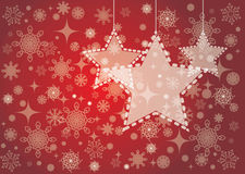Red Christmas card background with stars and snowflakes Royalty Free Stock Photos
