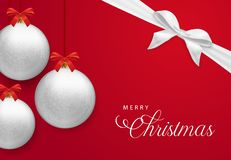 Red Christmas card with bauble and gift ribbon royalty free illustration