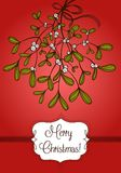 Red Christmas card with branch of mistletoe Stock Photo