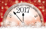 Red Christmas Card Cover Winter Snowflakes Clock 2017. Christmas card with snowflakes, clock and date 2017 on the red background Stock Image