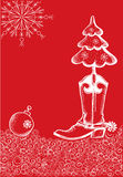 Red christmas card with cowboy boot Stock Photography