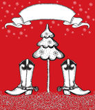 Red christmas card with cowboy boots and fir-tree. Royalty Free Stock Photography