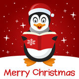 Red Christmas Card Cute Penguin Royalty Free Stock Photos