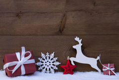 Red Christmas Card With Decoration, Copy Space, Snow Stock Photos