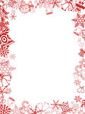 Red Christmas card frame Royalty Free Stock Photos