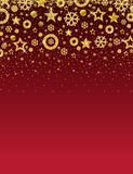 Red christmas card with frame of golden glittering snowflakes a. Nd stars, vector illustration royalty free illustration