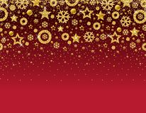 Red christmas card with frame of golden glittering snowflakes a. Nd stars, vector illustration stock illustration