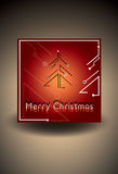 Red Christmas card with futuristic christmas tree. Vector Illustration Royalty Free Stock Photos