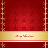 Christmas Card. Red Christmas Card with Golden Banner Royalty Free Stock Image