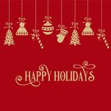 Red Christmas card with gloden small symbols. Red Christmas card with golden small symbols. Flat design royalty free illustration
