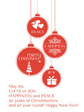 1512003_Red_Christmas_card_with_hanging_ornaments Immagine Stock Libera da Diritti