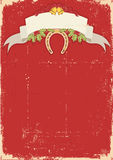 Red christmas card with horseshoe on old Stock Photo