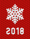 Red Christmas Card 2018 with Isometric 3D Snowflake. Stock Image