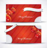 Red Christmas card with label Royalty Free Stock Image