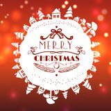 Red christmas card with lettering. On bokeh light effect background Stock Images