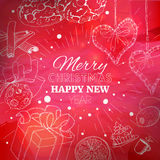 Red Christmas card with linear illustration Royalty Free Stock Image