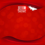 Red Christmas card. Red Merry Christmas card with white text. Vector and illustration Royalty Free Stock Images