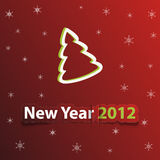 Red christmas card with new year 2012 Royalty Free Stock Image
