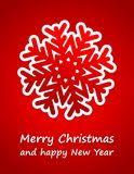 Red christmas card. With paper snowflake and sign Royalty Free Stock Photography