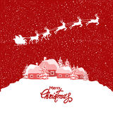 Red christmas card with reindeers Royalty Free Stock Images
