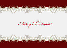 Red Christmas card with seamless swirly border Royalty Free Stock Photo