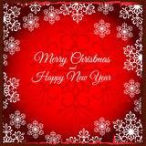 Red Christmas card with silhouette of snowflake Royalty Free Stock Photos