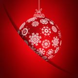 Red christmas card with snowflakes. + EPS10 Royalty Free Stock Photo