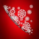 Red christmas card with snowflakes. + EPS10 Stock Images