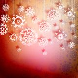 Red christmas card with snowflakes. + EPS10 Royalty Free Stock Images