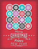 Red Christmas card with snowflakes and greeting text, vector Stock Photos