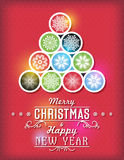 Red Christmas card with snowflakes and greeting text, vector Stock Photography
