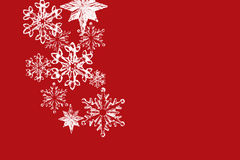 Red Christmas card with snowflakes Royalty Free Stock Images