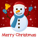 Red Christmas Card Snowman. Merry Christmas card with a cartoon snowman holding a jingle bell, with stars and snow on a red background. Eps file available Stock Image