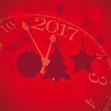 Red Christmas Card Stars Tree Snowfall Clock 2017. Christmas baubles with snowflakes and clock on the red background Royalty Free Stock Photos