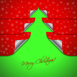 Red christmas card with stickers shaping christmas tree Stock Photo