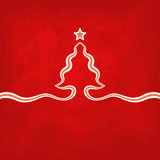 Red Christmas Card. Christmas card with christmas tree and star on the red background. Tree is created with a ribbon. The file is made with no transparencies and Royalty Free Stock Image