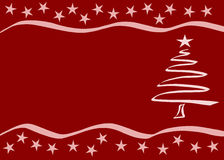 Red Christmas card. Vector. Red Christmas card with tree and stars (Vector Royalty Free Stock Photos