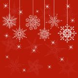 Red christmas card in vector. Red card with christmas snowflakes, illustration Stock Image