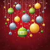 Red christmas card, vector royalty free illustration