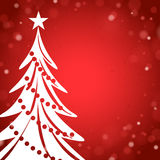 Red Christmas Card with White Christmas Tree Royalty Free Stock Photo