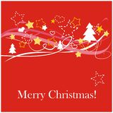 Red christmas card with white Merry Christmas wish. Red classic background, card or invitation with golden and white stars, christmas tree, hearts and Merry Royalty Free Stock Photography