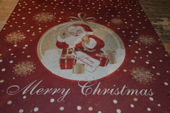 Red Christmas Carpet With Santa Clause Stock Photos
