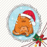 Red Christmas cat and kitten Stock Images