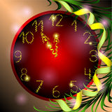 Red Christmas clock with branch of fir tree. Christmas clock with numbers of gold ribbon for your design Royalty Free Stock Images