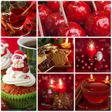 Red christmas collage. With sweets and tea Royalty Free Stock Photo