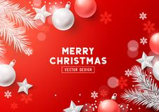 Red Christmas Composition Vector Background Royalty Free Illustration