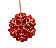 Red Christmas Decoration. This is the cropped image of snowflake Christmas decoration Stock Photography