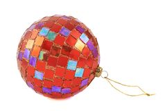 Red christmas decoration ball isolated Stock Photo