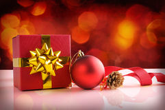 Red Christmas decoration with ball tape and gift horizontal comp Royalty Free Stock Image